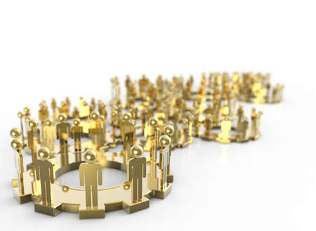 organization structure: Model of 3d figures on connected cogs as industry concept Stock Photo