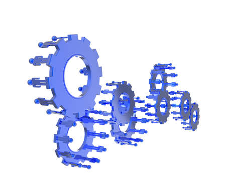 inter: Model of 3d figures on connected cogs as industry concept Stock Photo