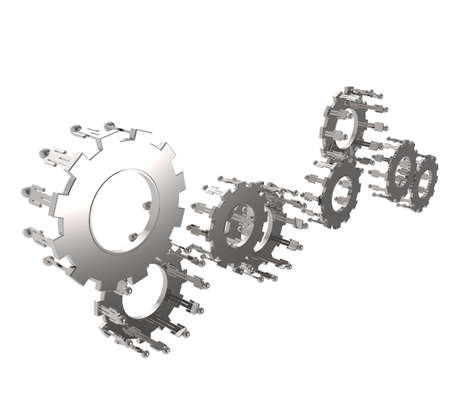 Model of 3d figures on connected cogs as industry concept Stock Photo - 16712927