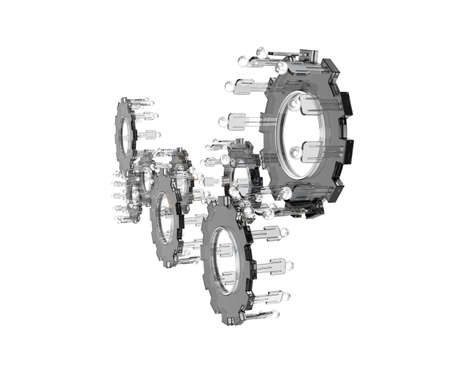 Model of 3d figures on connected cogs as industry concept Stock Photo - 16712980