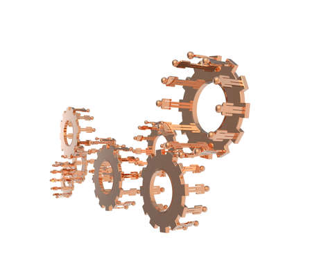 Model of 3d figures on connected cogs as industry concept Stock Photo - 16712925