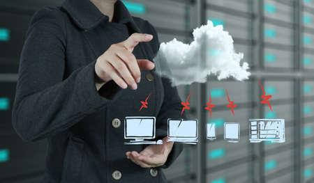 computer model: businesswoman hand touch a cloud network concept