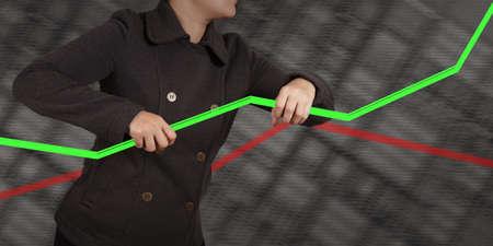 businesswoman hand shows virtual pie chart Stock Photo - 16713143