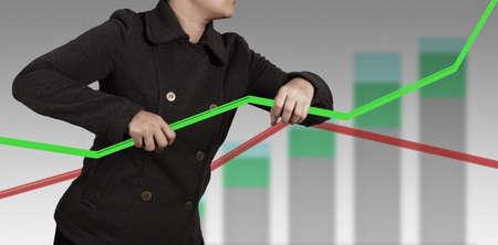 businesswoman hand shows virtual pie chart Stock Photo - 16713251