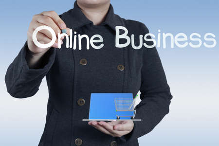small office: businesswoman and online business concept Stock Photo