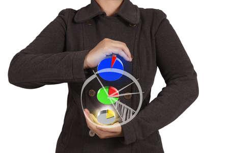businesswoman hand shows virtual pie chart Stock Photo - 16713144