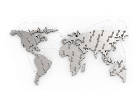 net meeting: social network human 3d on world map as concept