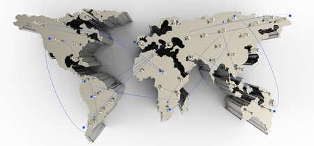 global partnership: social network human 3d on world map as concept