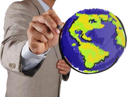 mundo manos: mano empresario dibujo globo abstracto en la pantalla virtual
