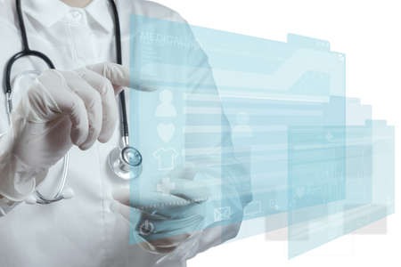 Medicine doctor working with modern computer interface Stock Photo - 16883582