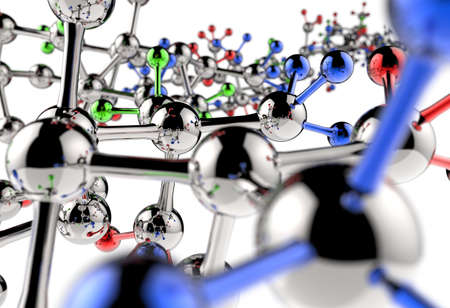 Molecule 3d on white background photo