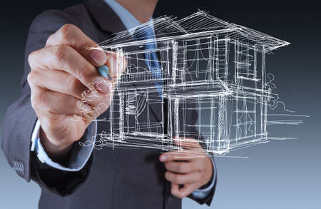 businessman hand drawing house in a whiteboard background Stock Photo - 17156938