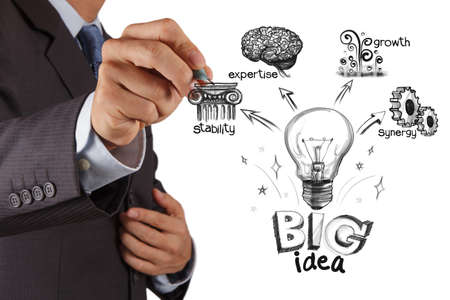expertise concept: businessman hand drawing the big idea diagram