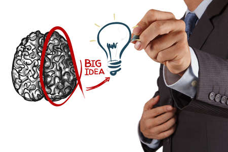 left hand: Business man drawing human brain diagram Left and right brain functions Stock Photo