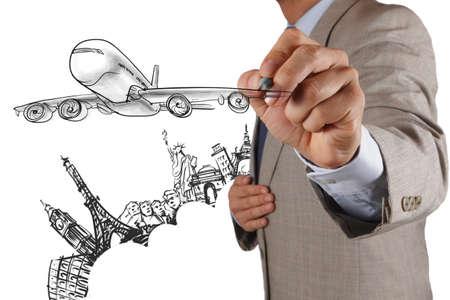 businessman hand draws airplane travel around the world Stock Photo - 17157118
