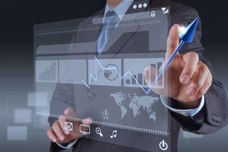businessman hand touch 3d virtual chart business Stock Photo - 17156975