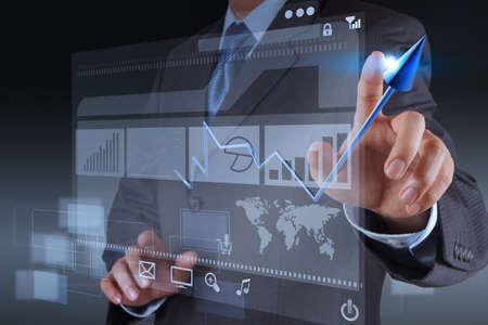businessman hand touch 3d virtual chart business Stock Photo - 17156977