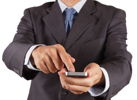 businessman hand using touch screen mobile on white background photo