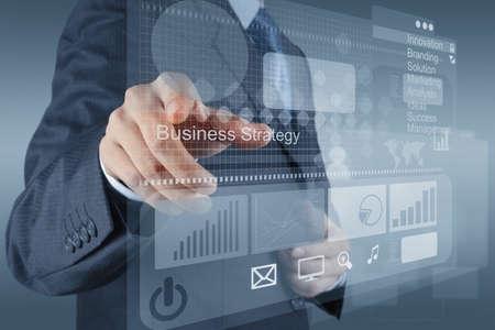 mão pontos empresário a estratégia de negócio como conceito Banco de Imagens