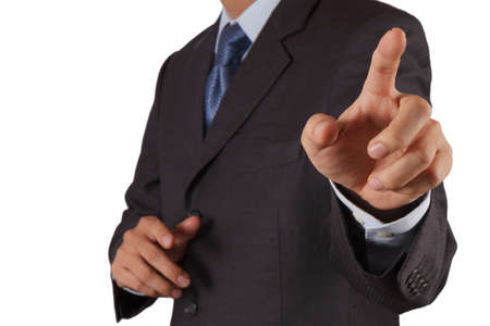 hand press: hand of business on white background