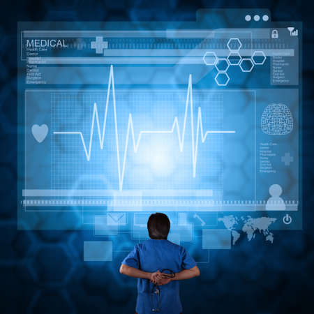 modern doctor: Medicine doctor working with modern computer as medical concept