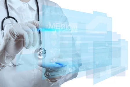 future medicine: Medicine doctor working with modern computer interface Stock Photo