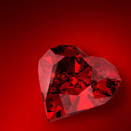 ruby red: glowing diamond heart illustration on red