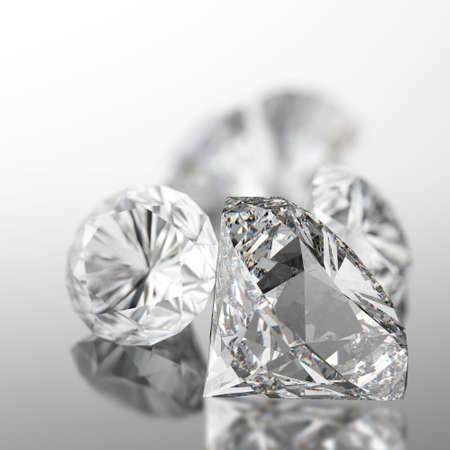 3d diamonds on black surface background photo