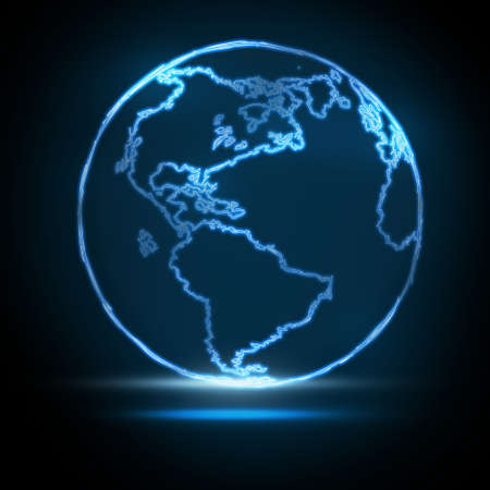 Abstract Glowing World Map on black background photo