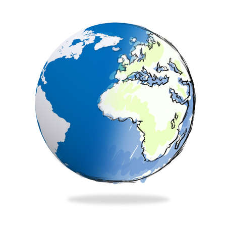 hand drawn the earth on white Stock Photo - 17156811
