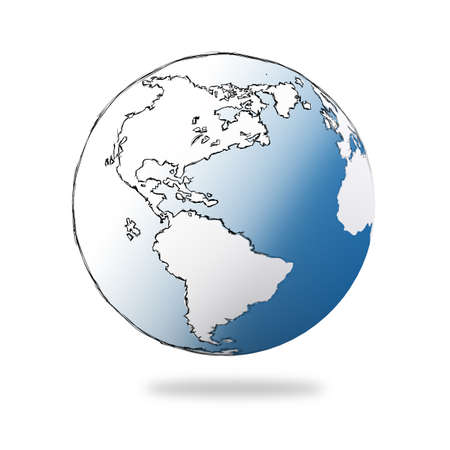 hand drawn the earth on white Stock Photo - 17156810