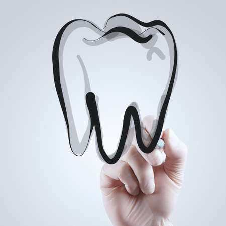 dentist smile: hand drawing a teeth on whiteboard