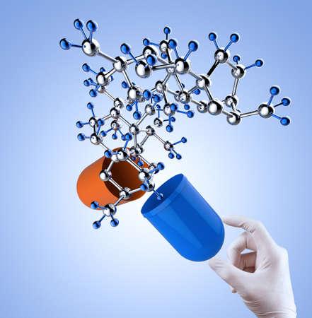 molecule structure: hands open capsule show molecule as medical concept