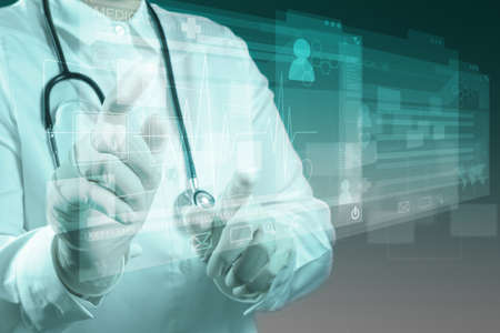 medical report: Medicine doctor working with modern computer interface Stock Photo