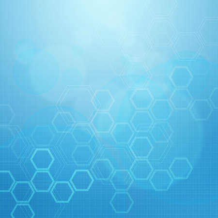 particles: Abstract molecules medical blue background