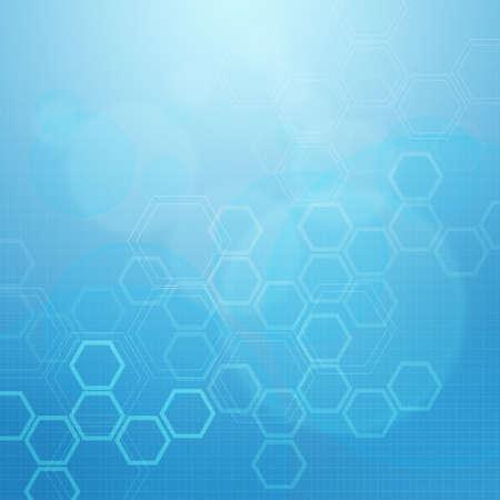 medical illustration: Abstract molecules medical blue background