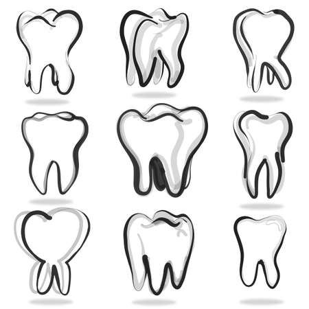 cavity: Human teeth set isolated on white background Stock Photo