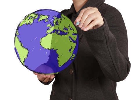 businessman hand drawing abstract globe on virtual screen photo
