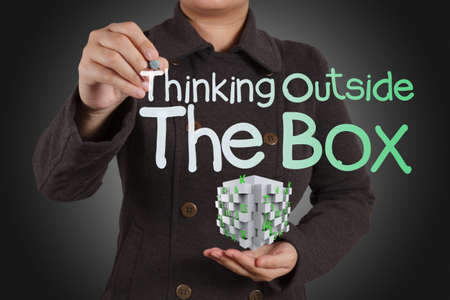 solve problems: thinking outside the box as concept and 3d box Stock Photo