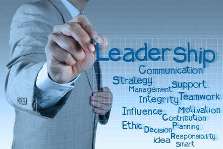 businessman writing leadership skill diagram on virtual board Stock Photo - 17542940