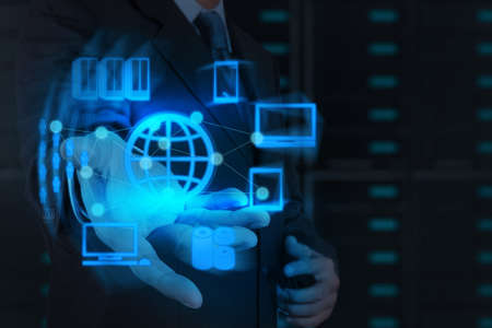 Businessman hand shows cloud network and new technology Stock Photo - 17543005
