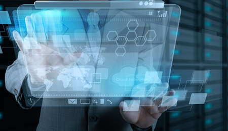 businessman hand working with new technology as concept Stock Photo - 17543047