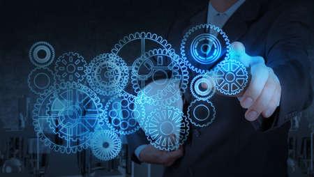 herramientas de mec�nica: de negocios que trabaja con el equipo de luz azul para el �xito como concepto