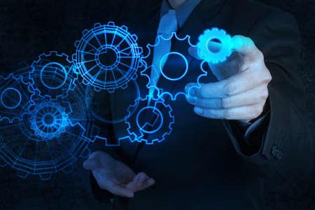 équipement contact d'affaires main bleue au concept de réussite