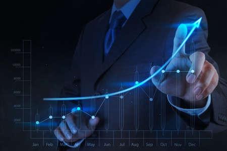 사업가 손 터치 3D 가상 차트 사업