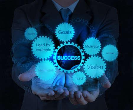 exito: mano de hombre de negocios muestra negocios engranaje éxito concepto gráfico