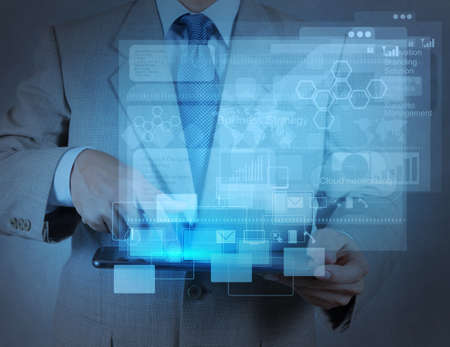 businessman hand working with modern technology as concept Stock Photo - 17542933