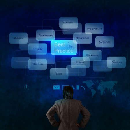 oefenen: zakenman hand te kijken naar de beste praktijken woord op het virtuele scherm als concept