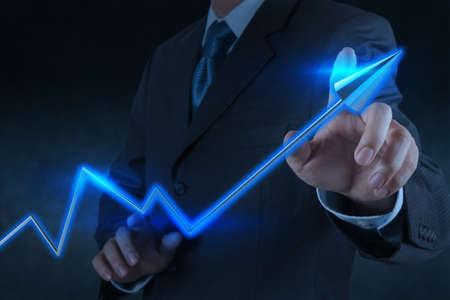 share market: businessman hand touch 3d virtual chart business as concept