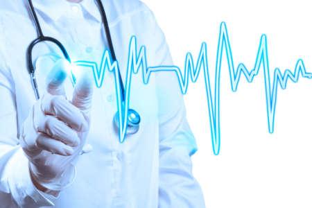 Medico di medicina lavorando con moderni computer spettacolo cardiologo Archivio Fotografico